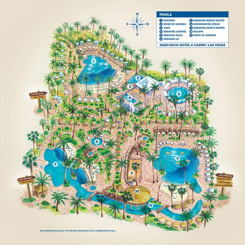Hard Rock Hotel Pool Map   Vegas Pool Season