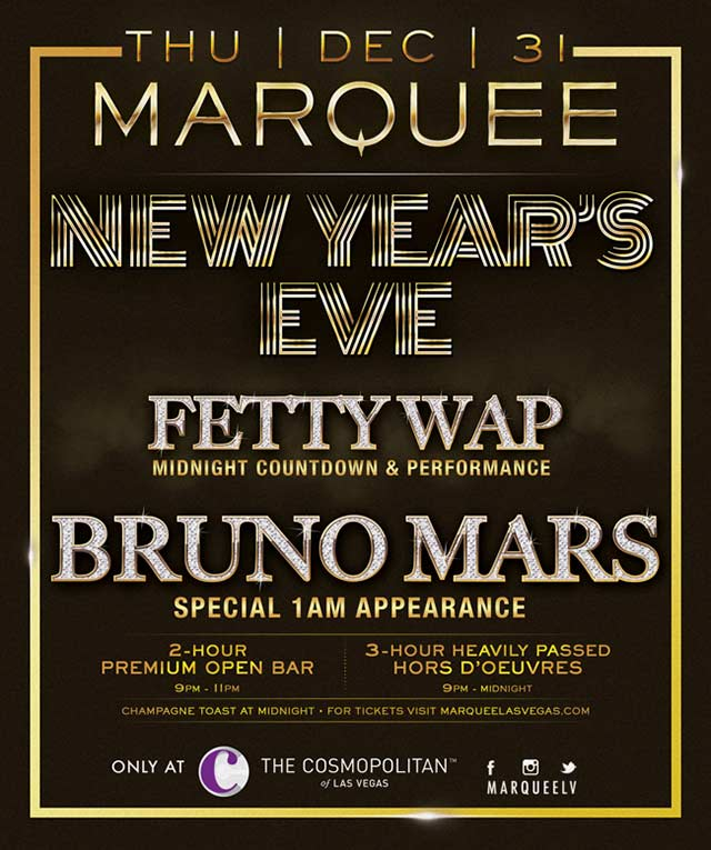 Fetty Wap Bruno Mars New Years Eve Marquee Las Vegas